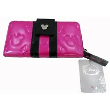Disney Parks Wallet Pink Black Fuchsia Loungefly Minnie Mickey Mouse Clutch