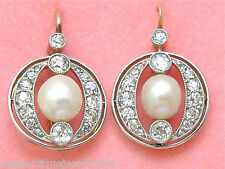 ANTIQUE 1.44ctw OLD MINE DIAMOND 7mm NATURAL PEARL COCKTAIL WIRE EARRINGS c1910