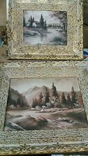 Vintage 2 Oil Painting Tarrani Old Scene Framed small and large antique carved