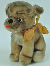 Steiff Mops Hund Antik Plüschtier Stofftier Fahne Knopf Vintage dog Mopsy P5S3