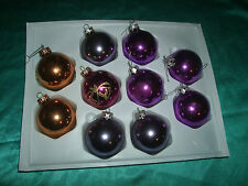 10 alte Christbaumkugeln Glas lila, blau, kupfer Konvolut Weihnachtskugeln