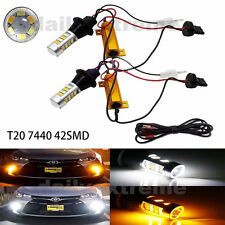 2x T20 W21W 7440 42SMD Switchback LED White DRL & Amber Turn Signal Lights Lamp