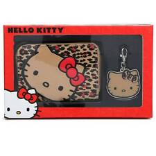 LoungeFly Hello Kitty Leopard print Wristlet Wallet & Charm / Key-Chain Gift Set