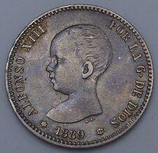 1 PESETA 1889 (18-89) ESPAÑA SPAIN ALFONSO XIII MUY ESCASA PATINA GRIS