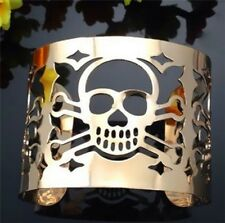 Gold Tone Skull Cuff Bangle Statement Gothic Punk Bracelet UK Shop