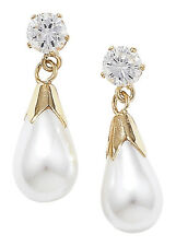 9ct Yellow Gold White Pearl Pear & Cubic Zirconia Cluster Drops JC256