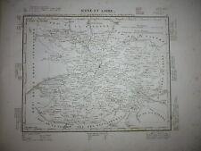 Gravure 19e Cartes France Départements & colonies géographie Maine et Loire