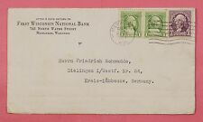 1933 WISCONSIN NATL BANK PERFINS WNB ON COVER MILWAUKEE WI TO GERMANY
