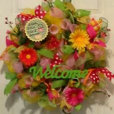 Summer Yellow,Green,& Pink, Flower,Ribbon Lemonade Deco Mesh Welcome Wreath