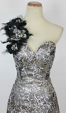 NEW Lime by Riva $280 Sequin Feather one Shoulder Size 12 Prom Formal Short Gown