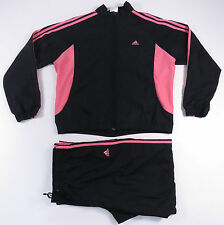 ADIDAS BLACK & PINK 3 STRIPE FULL ZIP WINDBREAKER TRACK SUIT JACKET PANTS WOMENS