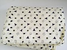 Halloween Fabric Remnant Cotton Ghosts Witch Hats Spiders Stars Cream 3.30 Yards