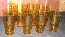 Lot of 13 Amber Dots Dimpled Coin Gold Thumbprint Vintage Tumbler Drinking Glass