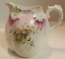 """Vintage R&S Prussia Embossed Porcelain Creamer Gold Trim 3.25"""" x 4"""" Excellent"""