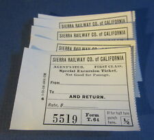 Lot of 5 Old 1910's - SIERRA RAILWAY Co. - Special Excursion TICKETS Agents Stub
