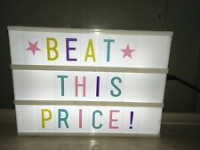 A4 Cinematic Light Up Letter Box Message Board Decor Colour Letters, White Shell