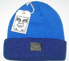 NWT Licensed Obey DUAL Cuffed Beanie Hat Blue Navy     SICK LID!      LAST ONES!