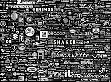 "002 Car Logos Badges Collage Black Art 19""x14"" Poster"