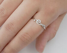 USA Seller Music Note Ring with CZ Sterling Silver 925 Best Deal Jewelry Size 10
