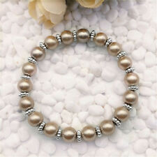 DIY Wholesale Fashion Jewelry 8mm Champagne Pearl Beads Stretch  Bracelet !!!!