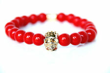 Gold Skull Zen Bracelet from red Pearls Beads Stone Chakra Bracelet