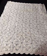 Vintage Large 80x56 White Rectangular Hand Crocheted Tablecloth Bed Coverlet