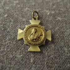 ANTIQUE EARLY 1900'S METAL & MARBLED CELLULOID SAINT THERESE CROSS MEDAL PENDANT