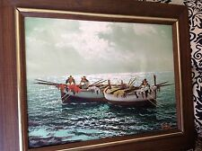 Vintage estate original oil painting by artist Poli seascape deep sea