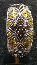 1/2 CT_ sz 6.75_ FANCY CANARY YELLOW AND RED .50 CT DIAMOND STERLING SILVER RING