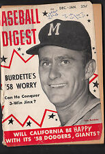 Lew Burdette December-January 1958 Baseball Digest Magazine Loose Cover