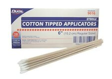 "DUKAL STERILE COTTON TIPPED APPLICATORS 6"" LONG WOOD HANDLE SWABS 200/BOX #9016"