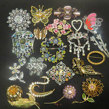Vintage&Now High End Fashion Flower Rhinestone Enamel Brooch Lot Monet Napier