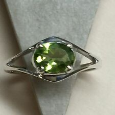 Natural 2ct Apple Green Peridot 925 Solid Sterling Silver Ring sz 7