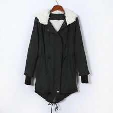 UK Womens Hooded Parka Fleece Tops Ladies Winter Warm Long Jacket Coat Size 6-16