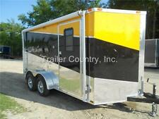 NEW 2016 7X14 7 x 14 V-Nosed Enclosed Cargo Triple Color Motorcycle Trailer Ramp