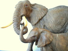 """RESIN ELEPHANT STATUE 15"""" ADULT AND BABY ELEPHANTS REAL TO LIFE our item # 4043"""