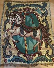 "50"" x 65"" Carousel Merry Go Round Horse Tapestry Blanket Throw Red Blue Green"