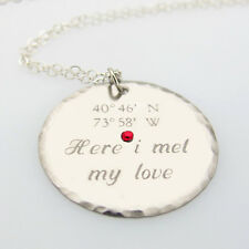 Latitude Longitude Disc Necklace - Sterling Silver Personalized GPS Pendant, Cry