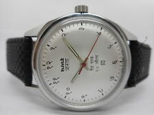 VINTAGE HMT JANATA HINDI HAND WINDING MENS STEEL PARASHOCK WRIST WATCH RUN ORDER