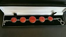 L@@K Designer Sterling 925 Silver T-Bar Gemstone Bracelet 8 Inch
