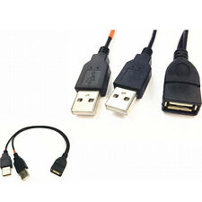 Double Dual 30cm USB 2.0-A Female To USB Male Cable Extension Power Adapter