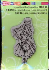 STAMPENDOUS cling rubber stamp HALLOWEEN MAGIC Gilr in Hat, Watch CRP168