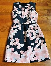 New Red Valentino Floral Black Pink Tulip Cocktail Flare Dress US 0 2 / IT 38