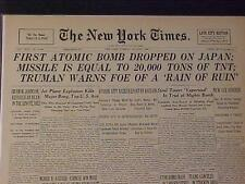VINTAGE NEWSPAPER HEADLINE ~WORLD WAR 2 WWII FIRST ATOMIC BOMB DROPED ON JAPAN~