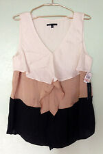 NWT CHAUS Colorblock Sleeveless Ruffled Top Beige Black Sz 12 / Fits Large XL