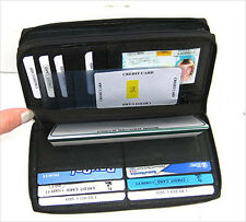 Black 2 Zipper Leather Credit Card Checkbook Organizer Lady Wallet Clutch 544