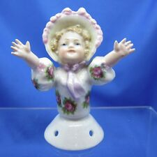 Antique Half Doll Collection WONDERFUL Goebel Child in Bonnet, Arms Outstretched