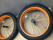 26 x 4 BICYCLE FAT TIRE WHEEL SET - WHEELS AND TIRES - ORANGE