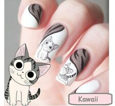 Art ongles stickers Kawaii Chat Dessin Animé Mignon Eau Transferts De Chi