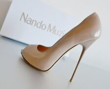 NEW   NANDO MUZI HIGHHEEL STILETTO PUMPS PEEP-TOE LACK PATENT NUDE 13cm Gr 38